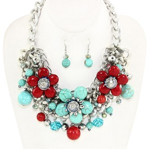 Gemstone Turquoise Multicolor Rhodium Fashion Necklace and Earring
