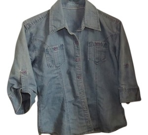Denim Riders Front Pockets Buttons Down Button Down Shirt Blue