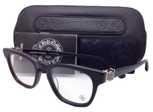 Chrome Hearts New CHROME HEARTS Eyeglasses LOUVIN CUP BK 48-19 Black Frame w/ Sterling Silver