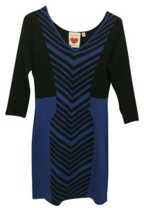 Derek Heart short dress Black Blue Geometric Print on Tradesy
