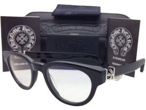 Chrome Hearts New CHROME HEARTS Eyeglasses KAY GULLS BK 47-20 Black Frame w/ Sterling Silver