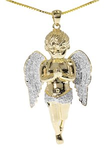 Jewelry Unlimited Yellow Gold Finish Genuine Diamond Cherub Angel Piece 2 Inch Pendant Charm .75 Ct