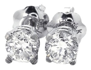 Jewelry Unlimited 14K White Gold Round Cut 4 MM Solitaire Diamond Stud Earrings Half .50 Ct