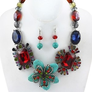 Multicolor Turquoise Gemstone Fashion Necklace and Earring Set