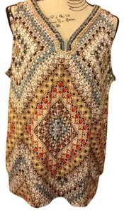 B Design Beaded Sleeveless Comfortable Office Geometric Pull Over Summer Spring Top Browns/Turquoise