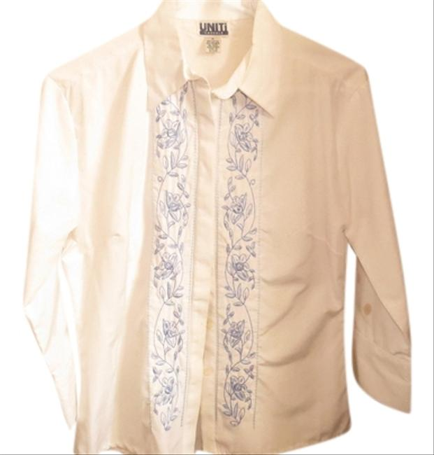 Uniti Casual Beads Embrodiery Button Down Shirt WHITE