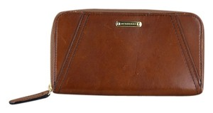 Burberry * Burberry Brown Bridle Leather Ziparound Wallet