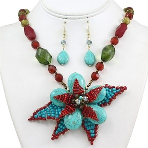 Other Gemstone Multicolor Turquoise Gemstone Fashion Necklace and Earrings