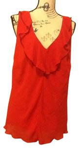 Byer California Ruffles Lace Sleeveless Pullover Comfortable V-neck Sexy Top Hot Red