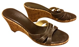 Ann Taylor LOFT Leather Cork Slide Slide On Sandal Comfortable Brown Wedges