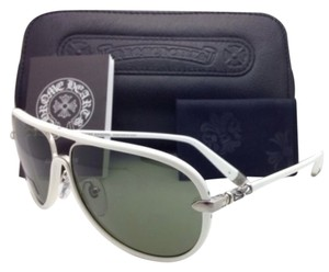 Chrome Hearts New CHROME HEARTS Aviator Sunglasses M. FLAPS WT White & Silver w/ Green lenses