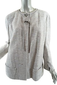 Chanel Tweed Leather Silver Blazer