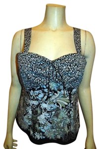 Nine West Silk Sleeveless Size 4 Lined Floral Cute Summer P413 Top NAVY LIGHT BLUE BLACK BEIGE