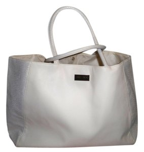 Jimmy Choo Tote in Ivory with Metalic Handles and sides