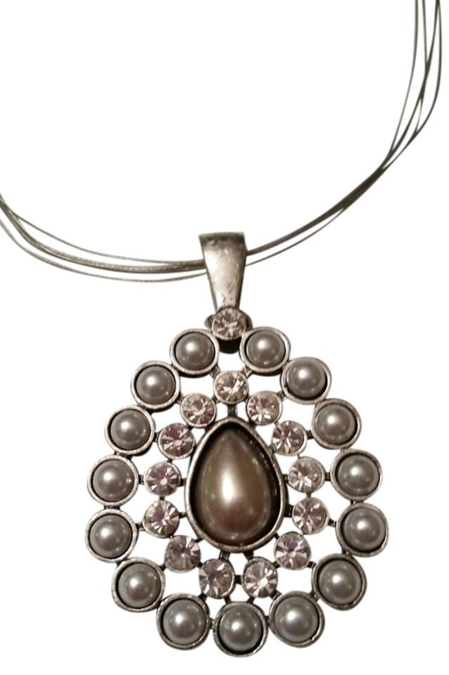 Premier designs brushed silver pearl and crystal teardrop pendant premier designs pearl and crystal teardrop pendant necklace mozeypictures Images