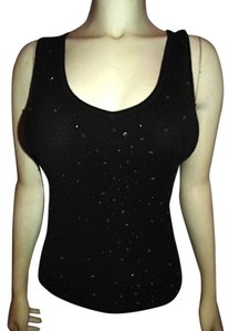 BCBGMAXAZRIA Knit Size Small Beaded Sleeveless Great Condition Cute Summer Top BLACK