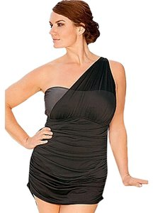8a613e71acf63 Lane Bryant Lane Bryant Infinity Blu One Shoulder Black Titanium Silver  Gray One Shoulder Mesh Swim