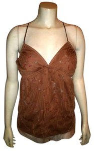 bebe Small Beaded Cami Top BROWN