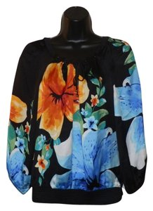White House | Black Market Blac Flowers Silk Elastic Top Black, Blue and Yellow