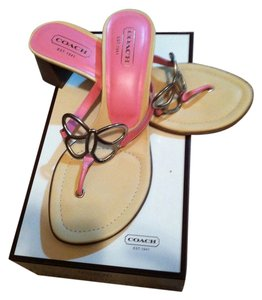 Coach Leather Size 9 Amara Calf Leather Pink Sandals