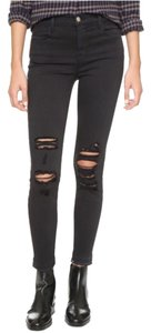 J Brand Demented Black Highrise Alana Skinny Jeans-Distressed