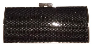 Judith Leiber Crystal Evening Tie Mirror Black Clutch