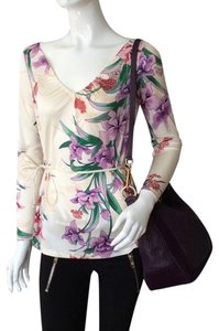 Elie Tahari Tie Top Cream Floral