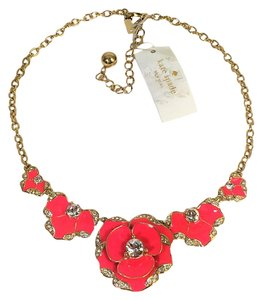 Kate Spade Kate Spade Beach House Bouquet Necklace NWT Sculptural Pink Flowers with Crystal Accents