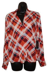 Vince Camuto See-thru Snap Petite Top Black, Red & White