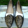 Belle by Sigerson Morrison Leather Black with Gold Flats Image 1