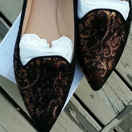 Belle by Sigerson Morrison Leather Black with Gold Flats Image 3