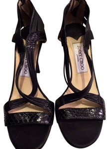 Jimmy Choo Strappy Snakeskin Heel Black Pumps