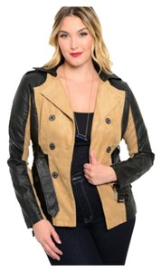 Plus Size Trench Leather Khaki & Black Leather Jacket