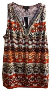 B Design Beaded Sleeveless Comfortable Casual Colorful Geometric Professional Work Summer Spring Pullover Top Brown/Orange