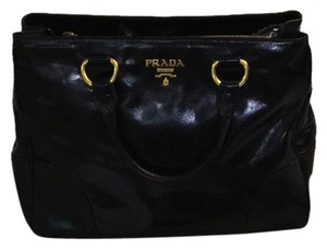 Prada Patent Leather Two-way Satchel in black