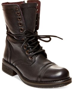 7c7f47db75e Steve Madden Black Troopa 2.0 Combat Leather Lace Up Boots Size US 8 ...