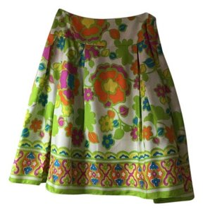 MILLY Silk Pleated Floral Skirt Multi