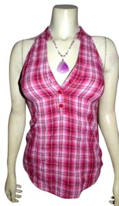 Guess Halter Size Small Sleeveless Cute Summer P420 pink plaid Halter Top