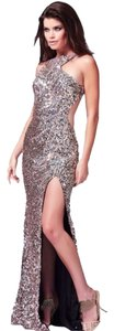 Mac Duggal Couture Designer Evening Gown Nude Dress