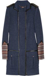 Matthew Williamson Jacquard Leather Trim Coat