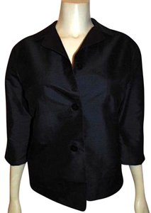 SILK CLUB 100% Silk Shirt Size 6 Small 3/4 Sleeves Collared Nice Button Down Shirt BLACK