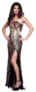 Mac Duggal 3998 Designer Evening Gown Nude Pastel Sequels Prom Size 6 Black Dress