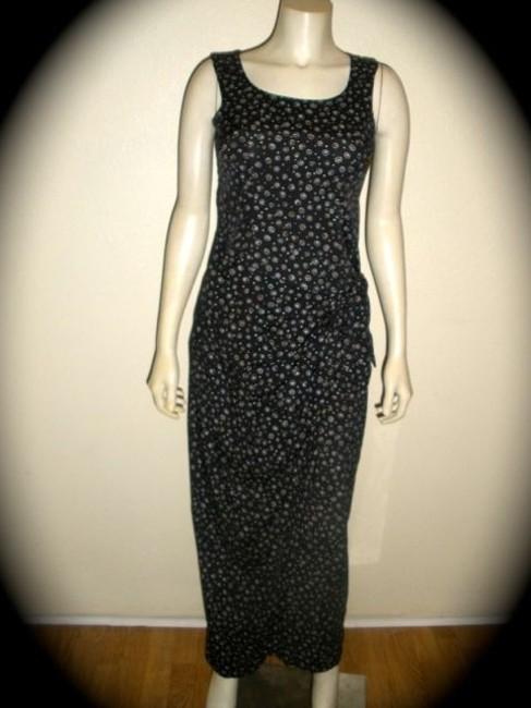 BLACK BEIGE WHITE Maxi Dress by CDC Caren Desiree Company Sleeveless Size 4 Polka Dot Circles Full Length Spring Cute