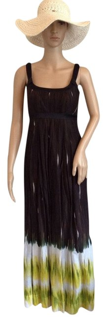 Brown and lime green Maxi Dress by Calvin Klein