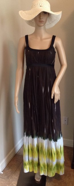 Brown and lime green Maxi Dress by Calvin Klein Image 7