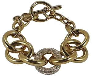 Michael Kors Nwt Michael Kors Gold Tone And Pave Link Toggle Bracelet