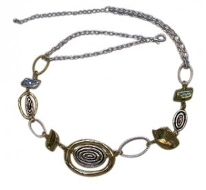 Bluebell Gold and Silver tone Oval Striped Necklace