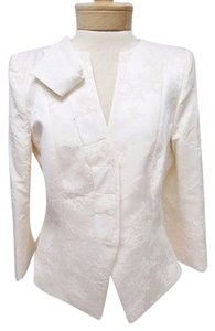 Womens Armani Collezioni Ivory Brocade 34 Sleeve Snap Front Blazer Jacket