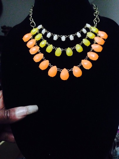 Not Rated White Yellow & Orange Drop Necklace Image 1