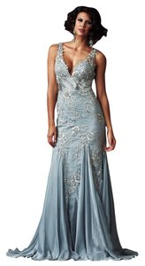 Mac Duggal 61713 Designer Evening Gown Nude Pastel Sequels Mother Of Bride Firmal Size 12 Dress